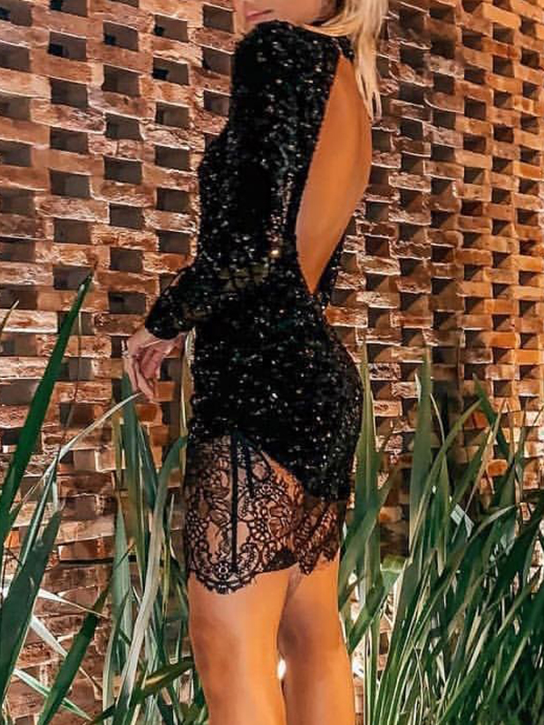 Black Patchwork Sequin Backless Bodycon Long Sleeve Sparkly Glitter Birthday Party Mini Dress Mini Dresses Dresses