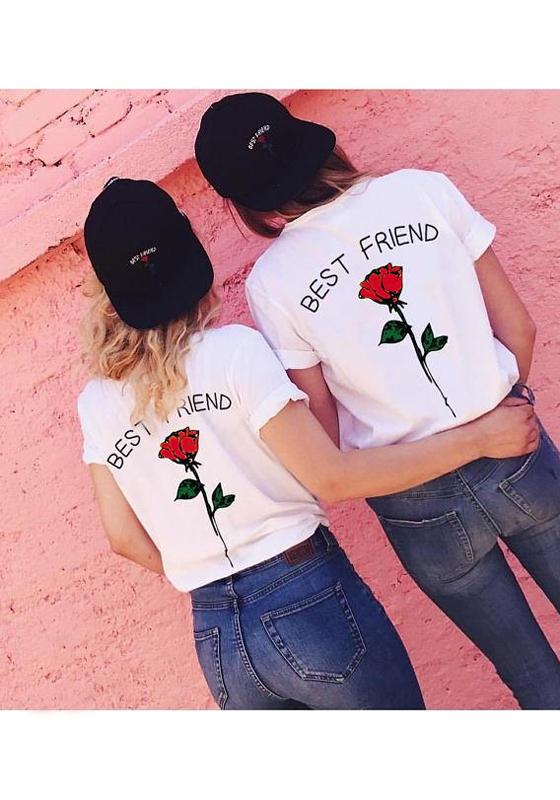 Red Monogram Best Friend Rose Print Plus Size Casual