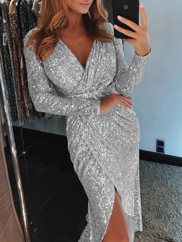 Silver Sequin Irregular V Neck Long Sleeve Sparkly Glitter Clubwear Birthday Party Midi Dress Maxi Dresses Dresses