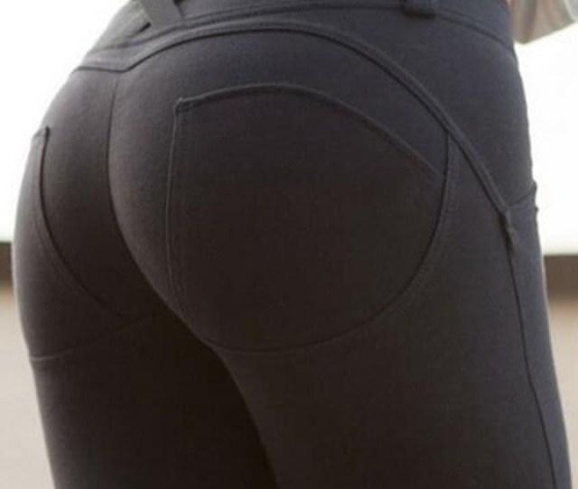 Black Elastic Waist Mid Rise Push Up Slim Casual Big Booty Legging