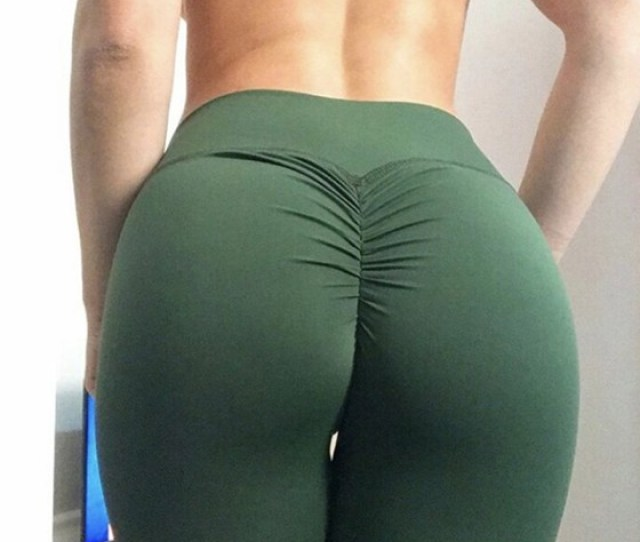 Army Green Pleated Bodycon High Waisted Sports Yoga Workout Big Booty Long Legging