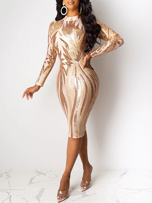 Apricot Patchwork Sequin Grenadine Band Collar Long Sleeve Bodycuit Sheer Clubwear Glitter Sparkly Birthday Party Midi Dress Midi Dresses Dresses