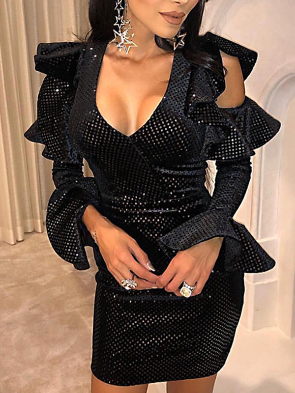 Black Sequin Cut Out Ruffle Flare Long Sleeve Bodycon Clubwear Glitter Sparkly Birthday Party Hot Mini Dress Mini Dresses Dresses