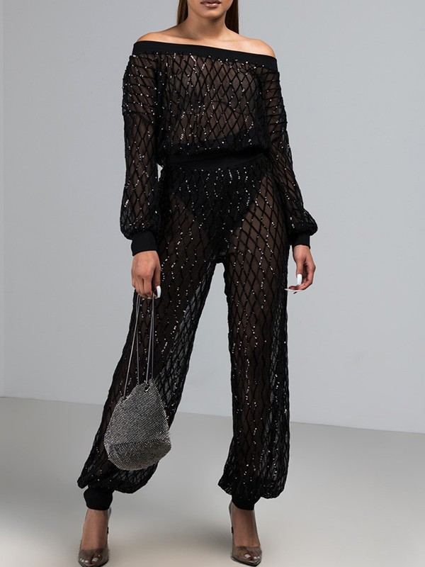 Black Sequin Glitter Sheer Off Shoulder Plus Size Two Piece Fashion Birthday Party Club Long Jumpsuit Jumpsuits Bottoms