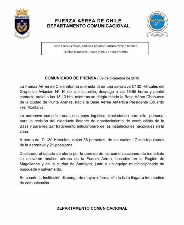 Comunicado de la Fuerza Área de Chile