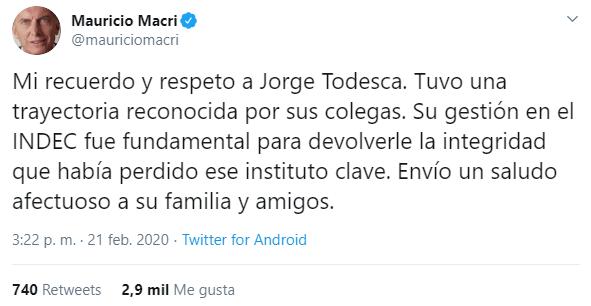 Murió el economista Jorge Todesca