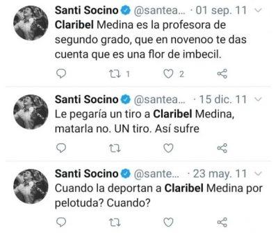 Los tuits de Santiago Socino que se viralizaron en las redes.