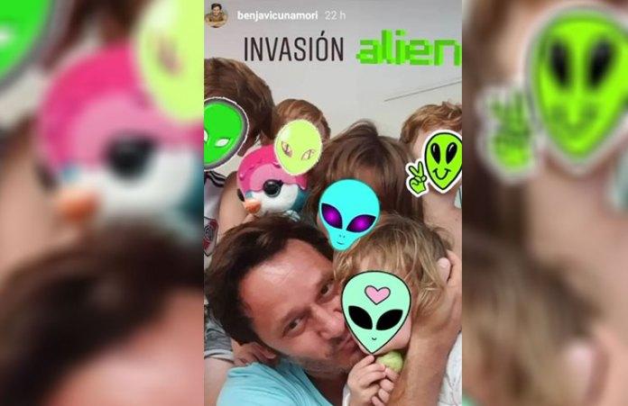 ''Invasión alien'': Benjamín Vicuña posó en una tierna foto junto a sus hijos y Rufina Cabré
