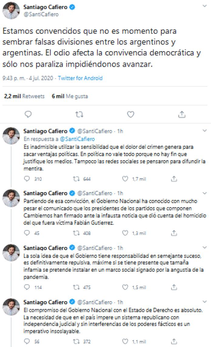 """Cafiero apuntó contra la oposición por el crimen de Fabián Gutiérrez: """"Intentan sacar provecho"""""""