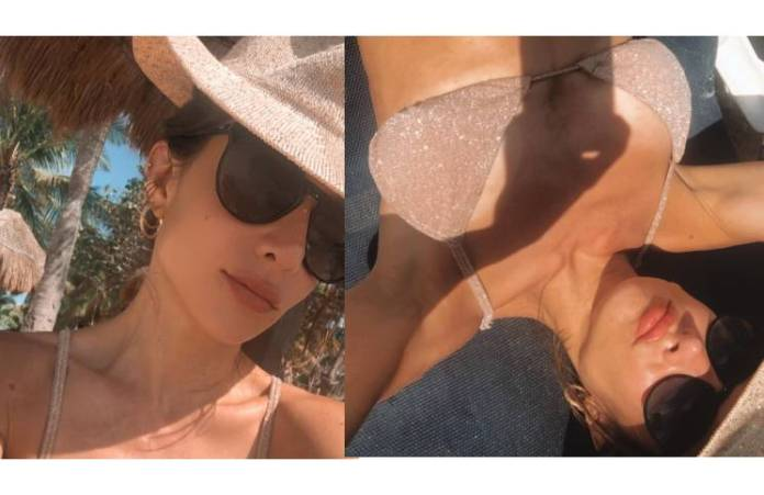"""En bikini color piel (y llena de brillos), Magui Bravi posó como una sirena a orillas del mar: """"Quiero volver"""""""