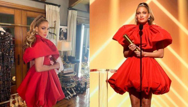 Jennifer López deslumbró con su look al rojo vivo.