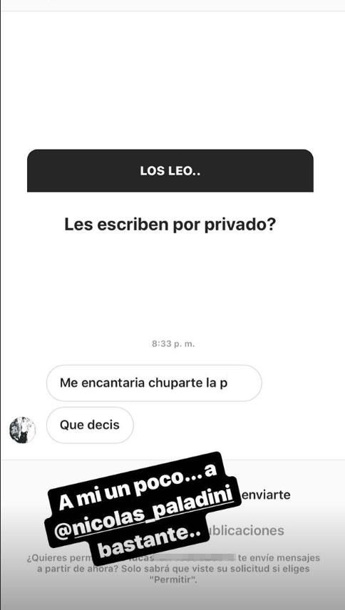"""Rocío Guirao Díaz mostró las propuestas súper hot que recibe Nicolás Paladini: """"Volvieron los escraches"""""""