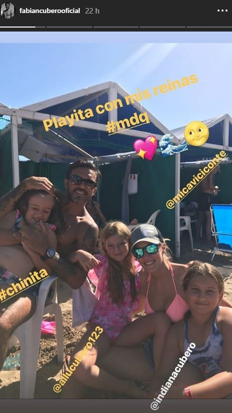 Fabián Cubero fue con sus hijas a ver el debut de Mica Viciconte como vedette en Mar del Plata