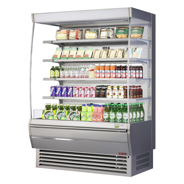 turbo air tom 60dxs n 60 stainless steel vertical air curtain open display merchandiser with 4 shelves