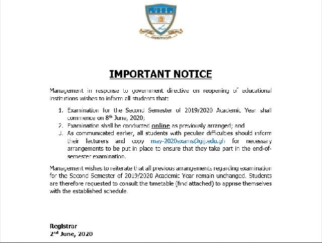 GIJ maintains online examination schedule