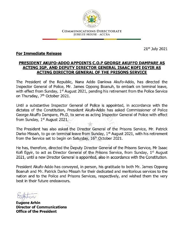Akufo-Addo names Isaac Kofi Egyir as acting Director-General of Prisons Service 1