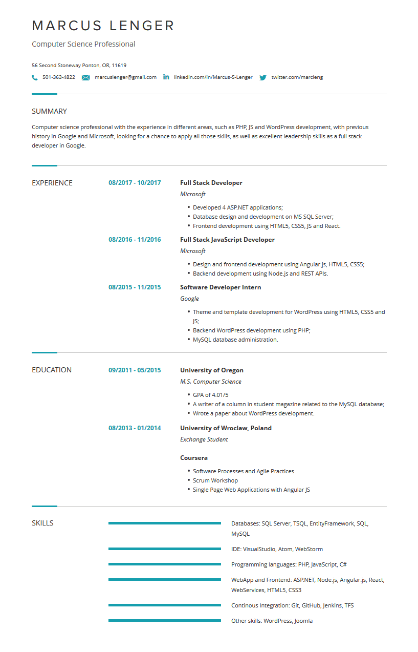 Computer Science Resume Examples Template Complete Guide