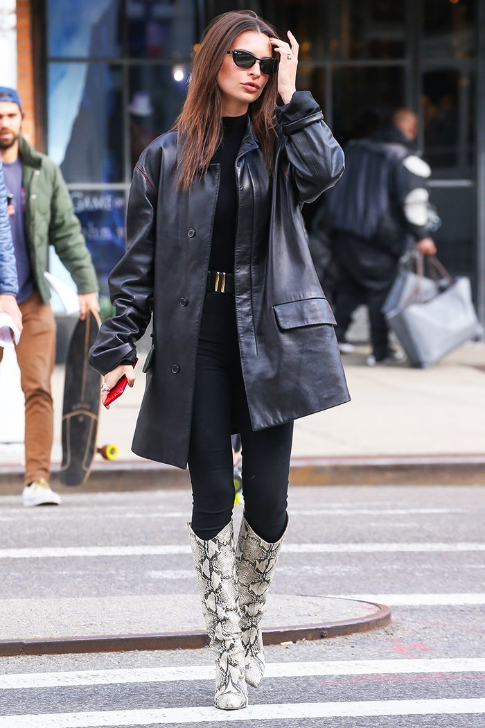 Leather Coat Jeans Boots
