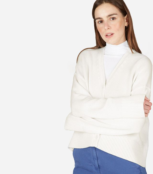 Women's Soft Cotton Square Cardigan by Everlane in Bone, Size M