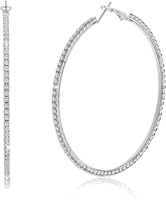 Bsjell Large Rhinestone Hoop Earrings