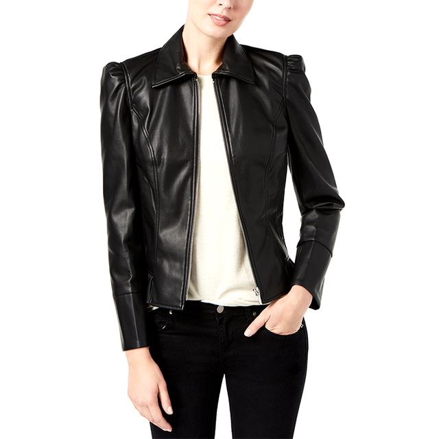 INC International Concepts Ruffled Faux-Leather Jacket