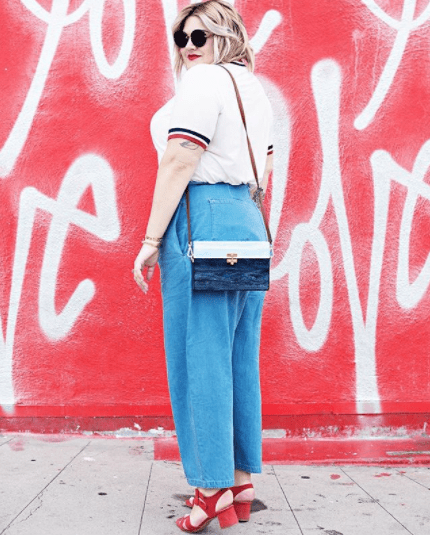 Pick a pair made of lighter fabric, such as these chambray-like jean  trousers.