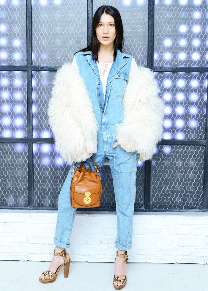 4c30fd625dd780 Style Notes  A denim jumpsuit paired with an oversized shearling jacket