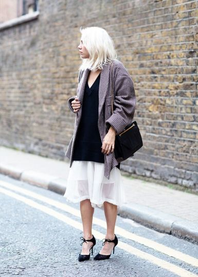 Oversize Sweater + Feminine Skirt