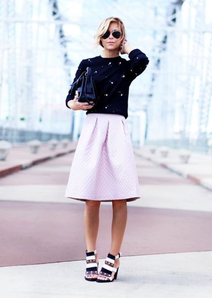 Crewneck Sweatshirt + Full Midi Skirt