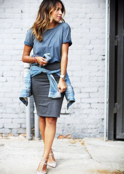 Casual T-Shirt + Pencil Skirt