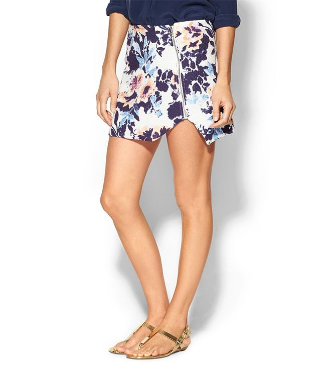 The uneven hem is a clever way to emphasize your legs.  Townsen Lattice Floral Skirt ($198)