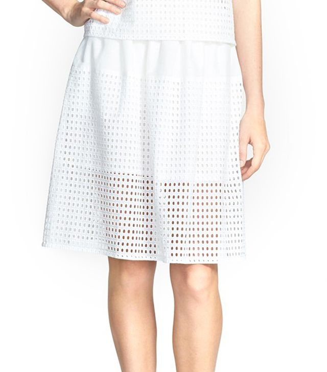 The sheer eyelet panel sings of spring.  Chelsea28 Eyelet Cotton Full Skirt ($78)