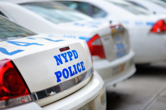 A stock image of the back of an NYPD vehicle.