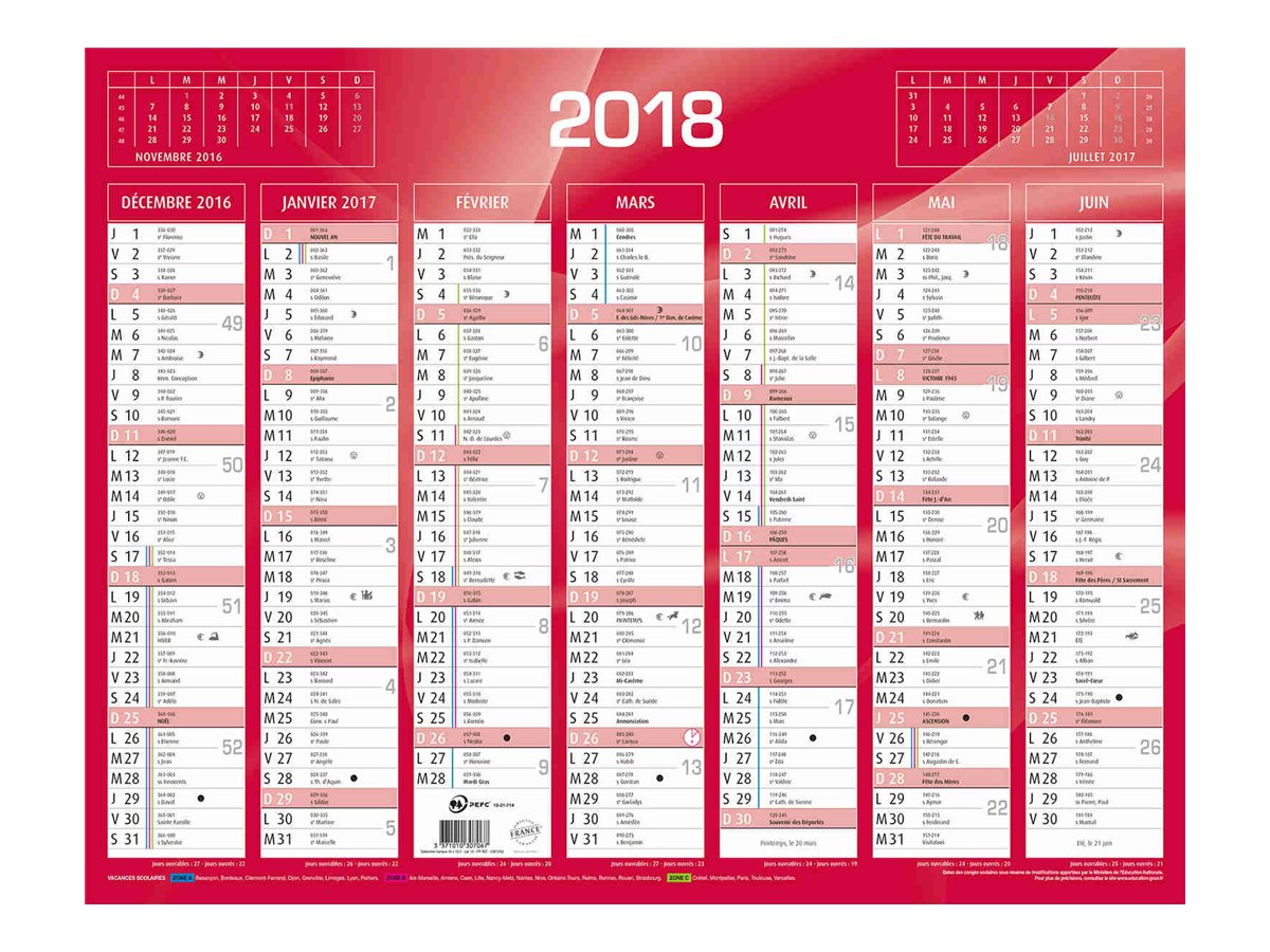RAYNARD BANQUE Calendrier Rouge Calendriers Civils