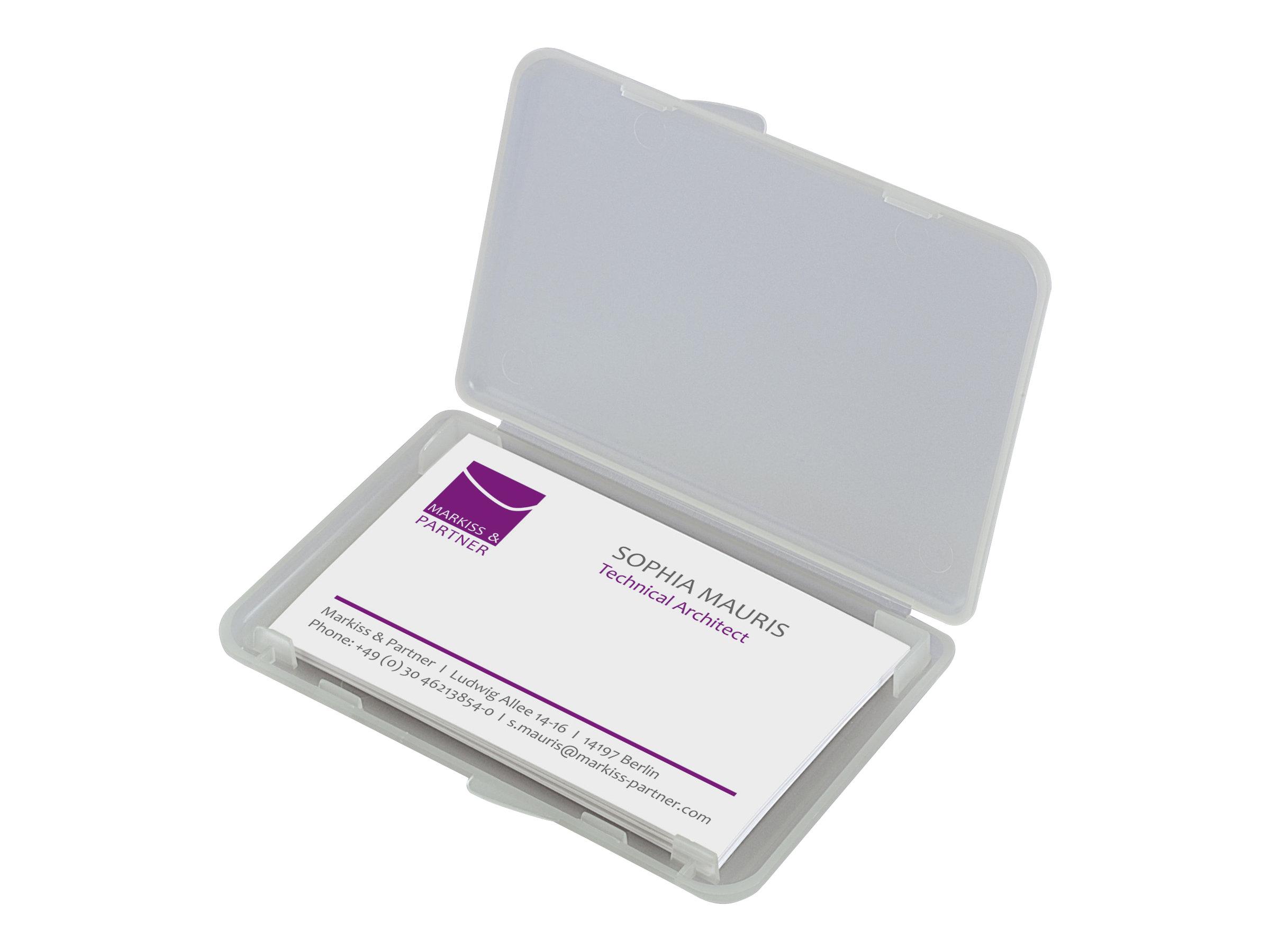 sigel porte cartes de visite plastique transparent mat zoom right angle