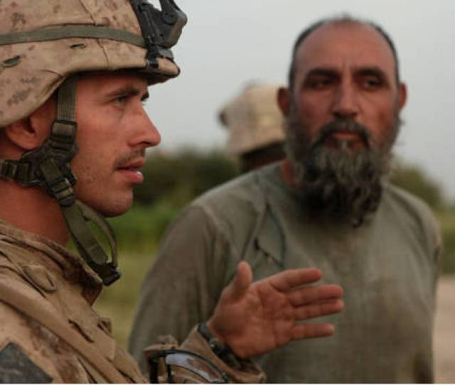 Marine Sgt Nathan Harris Talks To A Man In Afghanistan In The Film