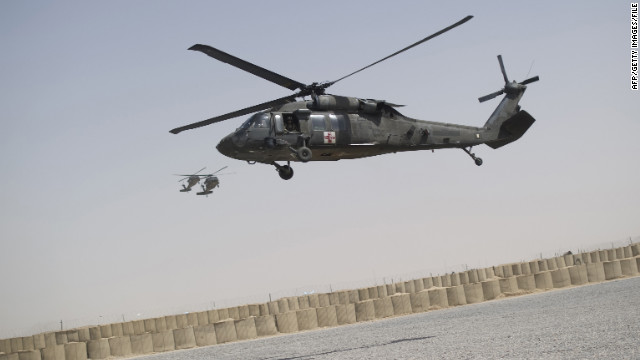 A UH-60 Black Hawk medevac helicopter of 159th Brigade Task Force Thunder lands at FOB Pasab in Kandahar province on August 22, 2011.