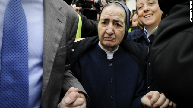 The late Sister Maria Gomez at a Madrid court hearing.