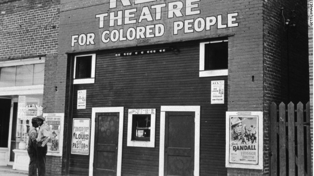The Rex Theatre in Leland, Mississippi, which was segregated under Jim Crow laws, as seen in this 1939 photo. Southern states began enacting such laws  in the late 1800s to restrict Black residents' rights.