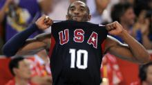 Kobe Bryant celebrates after leading the US basketball team to win the gold medal at the 2008 Beijing Olympics.