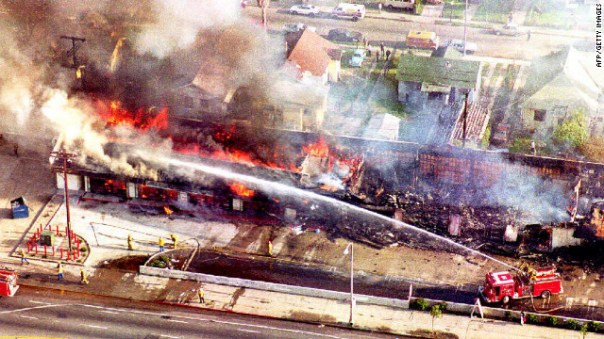 Image result for 11992 –Riots in Los Angeles, following the acquittal of police officers charged with excessive force in the beating of Rodney King.