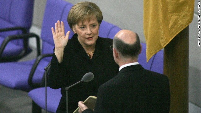 Angela Merkel was sworn in as Germany's first female chancellor in November 2005.