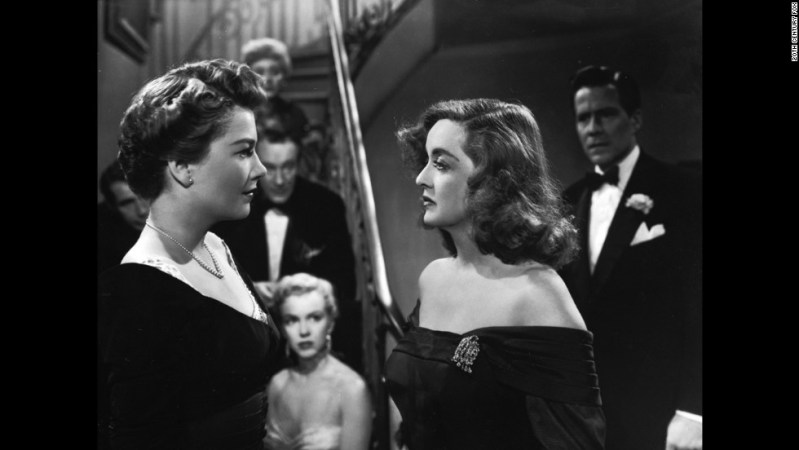"Director Joseph L. Mankiewicz's screenplay about an aging actress (Bette Davis, right) battling a scheming newcomer (Anne Baxter) remains one of the most quotable movies ever almost 65 years after its release. ""All About Eve"" held the record for a movie with the most Oscar nominations (14) until ""Titanic"" tied it in 1997. A young Marilyn Monroe, center, also attracted attention in an early role. As Margo Channing (Davis' character) would say, ""Fasten your seat belts, it's going to be bumpy night!"""