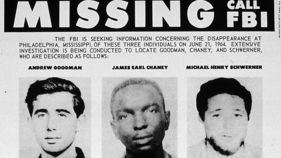 An FBI flyer for missing civil rights students Andrew Goodman, James Chaney and Michael Schwerner.
