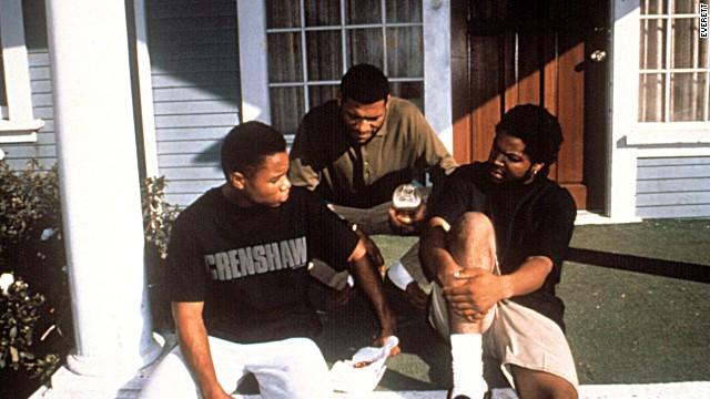 Cuba Gooding Jr., Laurence Fishburne, Ice Cube in 'Boyz n the Hood'