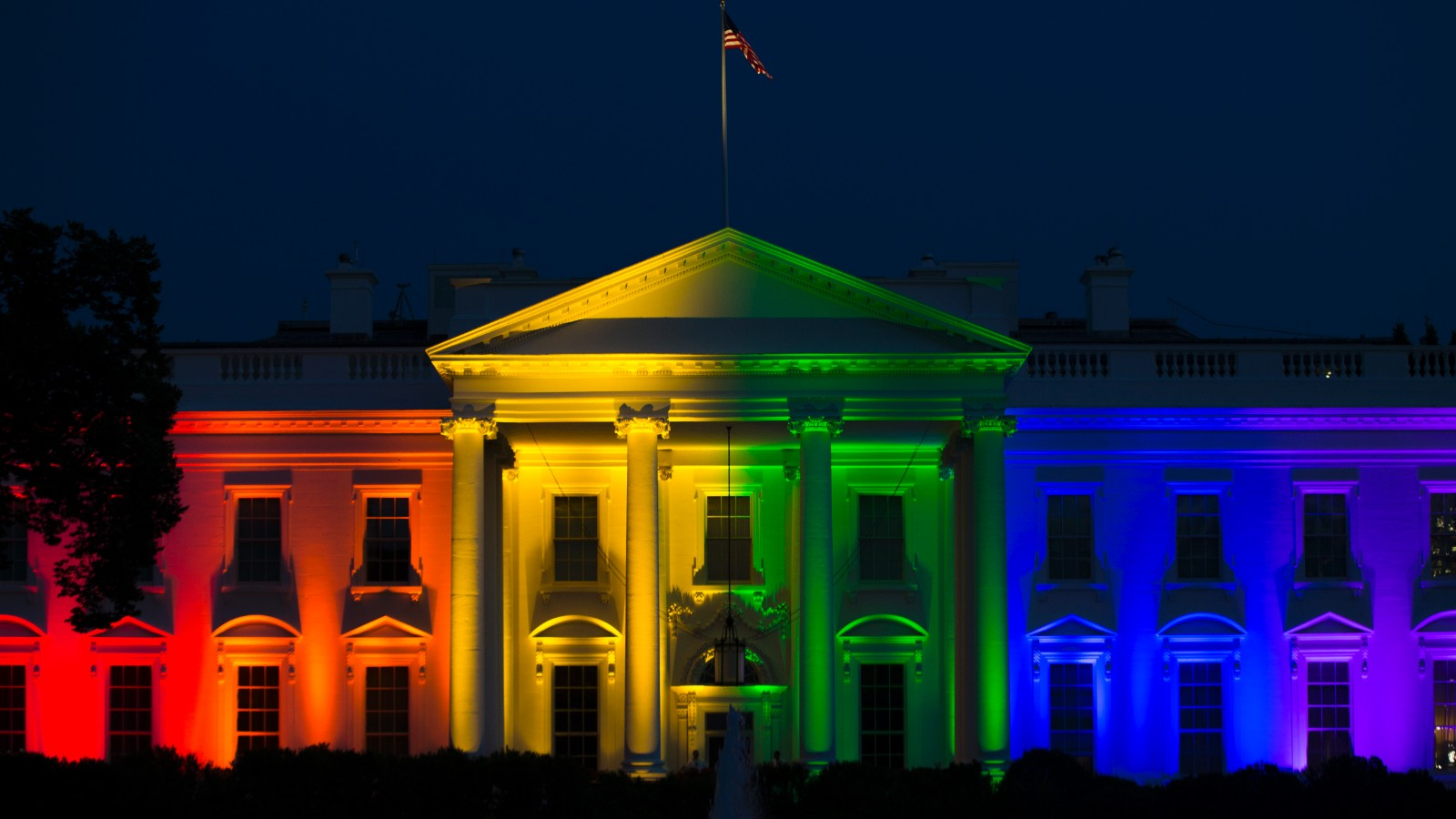 White House Lights With Rainbow Colors