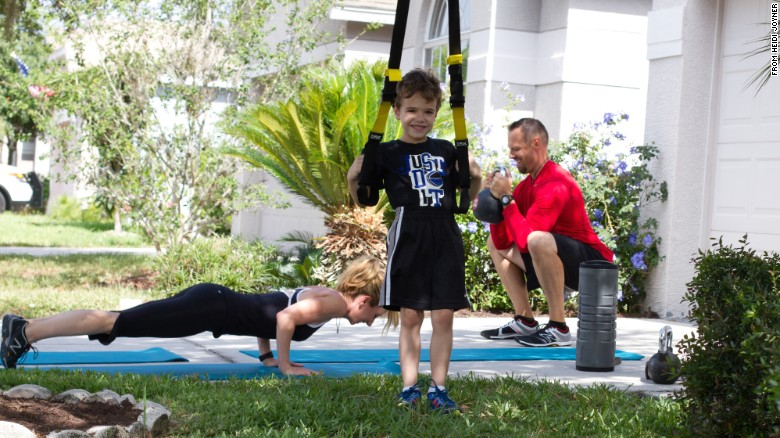 Think you don't have time to exercise? Try involving the whole family. If you have a driveway, sidewalk, small playground or park, you have enough space. Click through the gallery for a sample workout with Dana Santas, her husband, Donovan, and 6-year-old son, Luke.