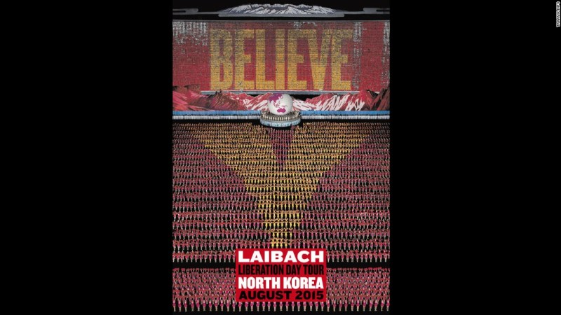 Poster for Laibach's 'Liberation Day Tour' in North Korea in August, 2015.