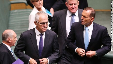 Tony Abbott, right, during his time as prime minister, with Malcolm Turnbull, who ousted Abbott from the premiership.