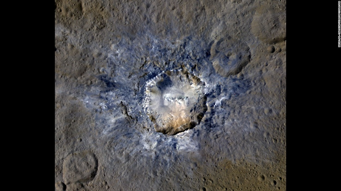 On April 19, NASA released new images of bright craters on Ceres. This photo shows the Haulani Crater, which has evidence of landslides from its rim. Scientists believe some craters on the dwarf planet are bright because they are relatively new.